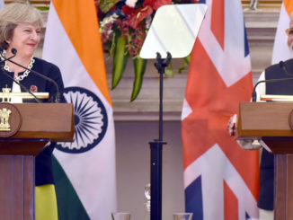 The Prime Minister, Shri Narendra Modi with the Prime Minister of United Kingdom, Ms. Theresa May, at the Joint Press Briefing, at Hyderabad House, in New Delhi on November 07, 2016.